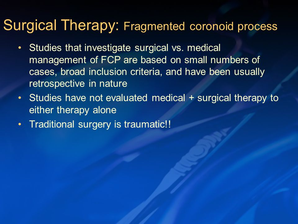 Studies that investigate surgical vs.