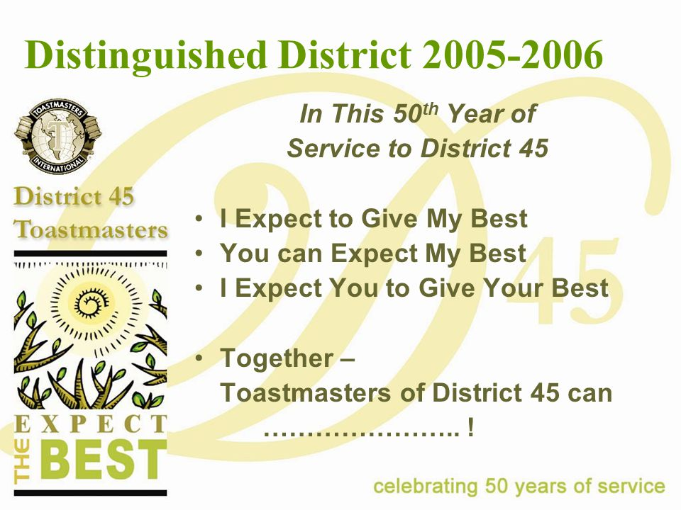 Distinguished District 2005-2006 In This 50 th Year of Service to District 45 I Expect to Give My Best You can Expect My Best I Expect You to Give Your Best Together – Toastmasters of District 45 can …………………..!