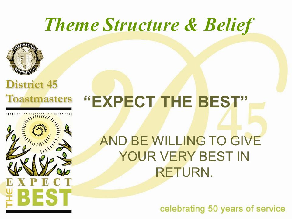"Theme Structure & Belief ""EXPECT THE BEST"" AND BE WILLING TO GIVE YOUR VERY BEST IN RETURN."