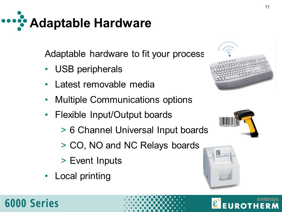 11 Adaptable Hardware Adaptable hardware to fit your process USB peripherals Latest removable media Multiple Communications options Flexible Input/Output boards >6 Channel Universal Input boards >CO, NO and NC Relays boards >Event Inputs Local printing