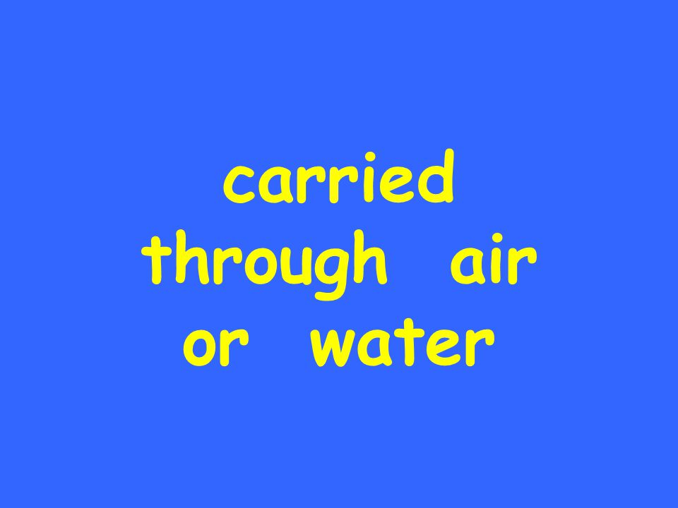 carried through air or water