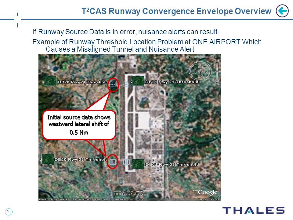 10 T 2 CAS Runway Convergence Envelope Overview If Runway Source Data is in error, nuisance alerts can result.