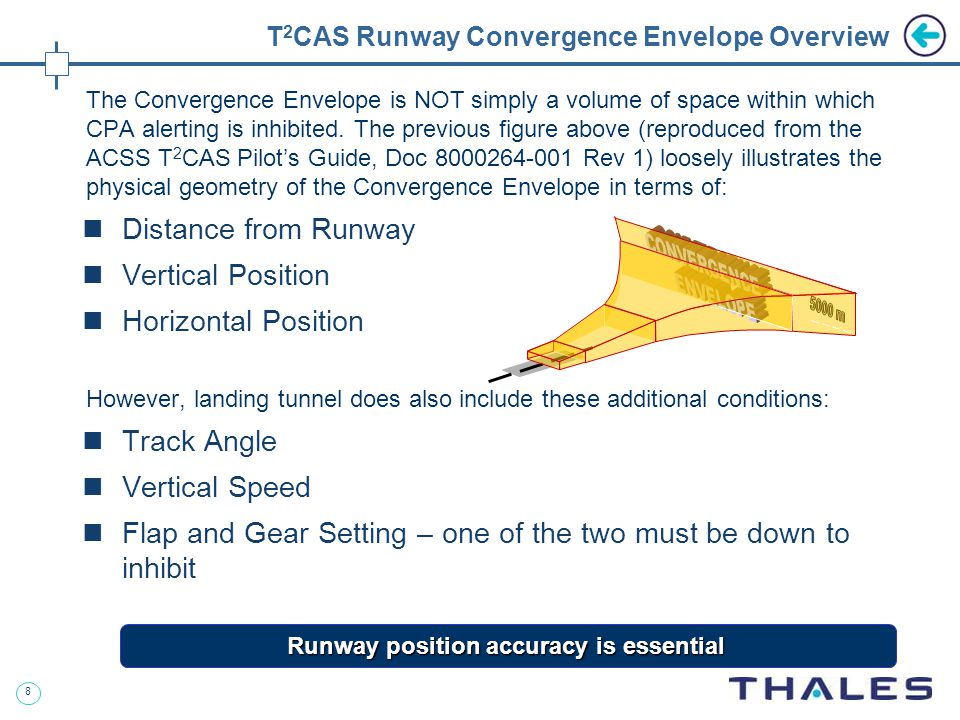 8 T 2 CAS Runway Convergence Envelope Overview The Convergence Envelope is NOT simply a volume of space within which CPA alerting is inhibited.