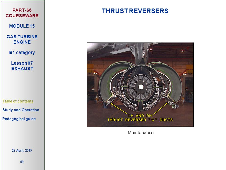PART- 66 COURSEWARE MODULE 15 GAS TURBINE ENGINE B1 category Lesson 07 EXHAUST Table of contents Study and Operation 59 Pedagogical guide 29 April, 20