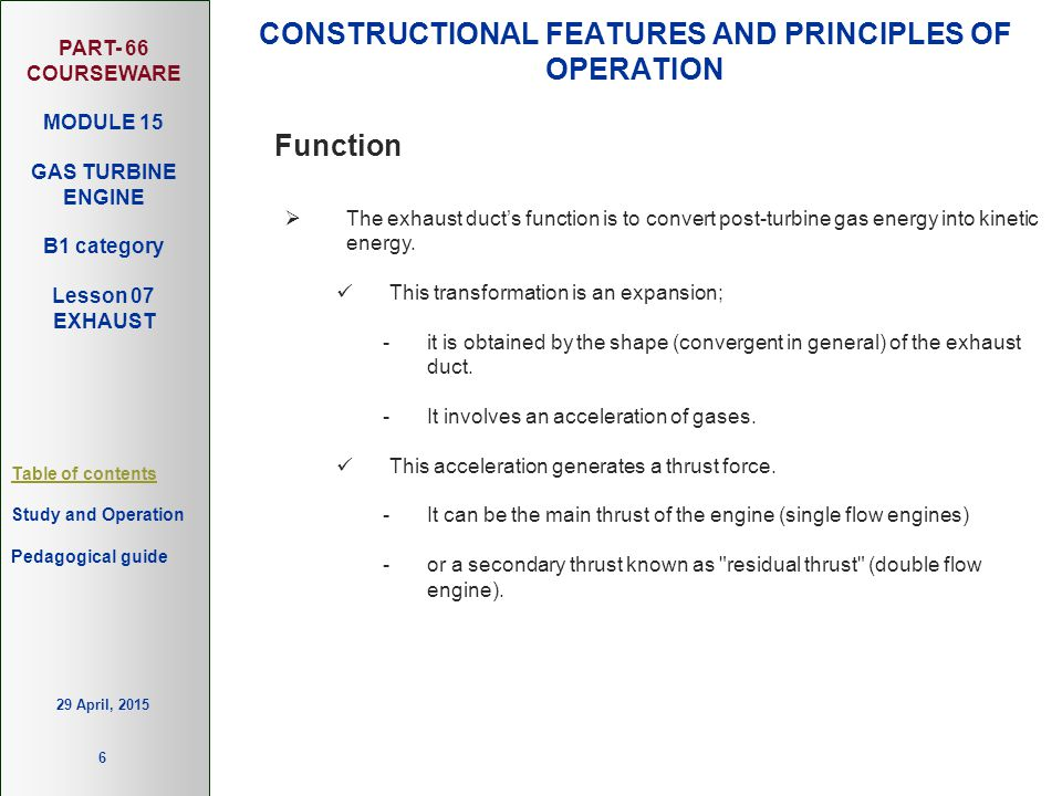 PART- 66 COURSEWARE MODULE 15 GAS TURBINE ENGINE B1 category Lesson 07 EXHAUST Table of contents Study and Operation 6 Pedagogical guide 29 April, 201