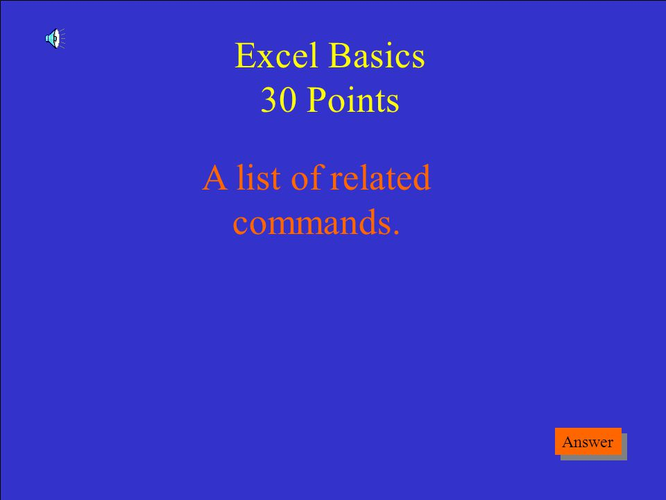 What is a folder Game Board Excel Basics 20 Points