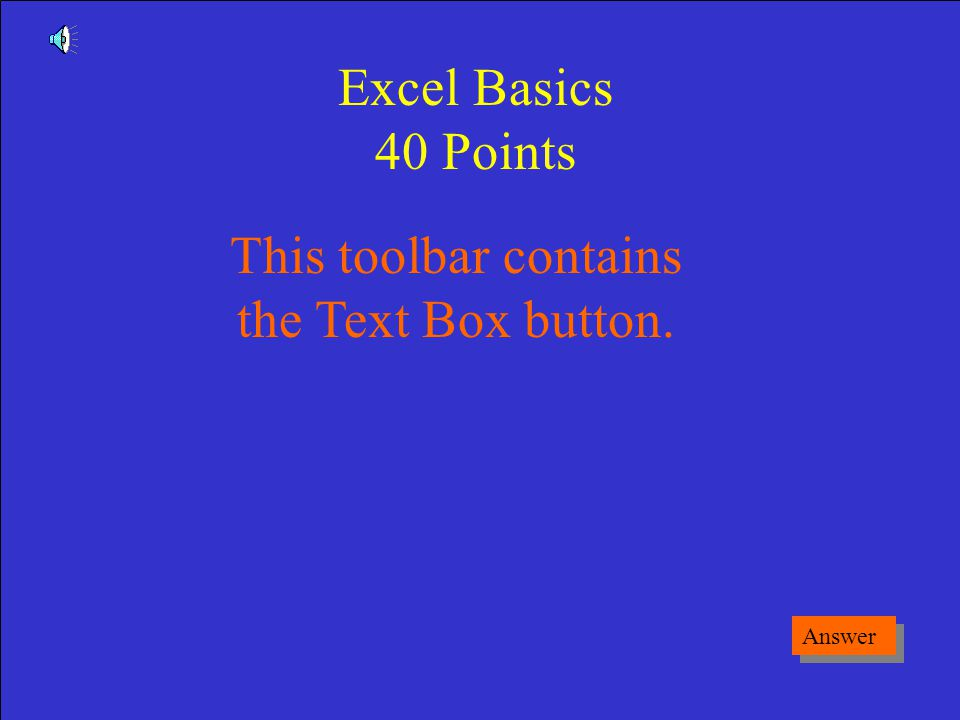 What is a Menu Game Board Excel Basics 30 Points