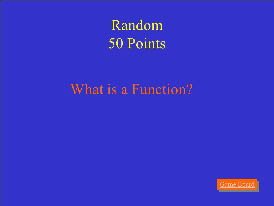 Answer A list of present formulas that are used to solve equations. Random 50 Points