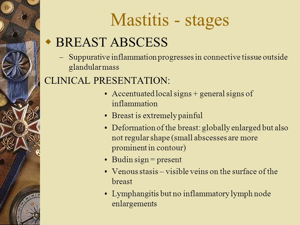 Mastitis - stages  BREAST ABSCESS – Suppurative inflammation progresses in connective tissue outside glandular mass CLINICAL PRESENTATION: Accentuate