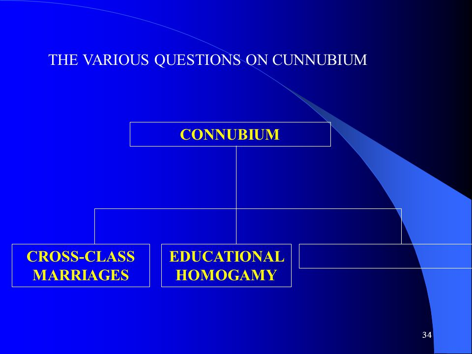 34 THE VARIOUS QUESTIONS ON CUNNUBIUM CONNUBIUM CROSS-CLASS MARRIAGES EDUCATIONAL HOMOGAMY