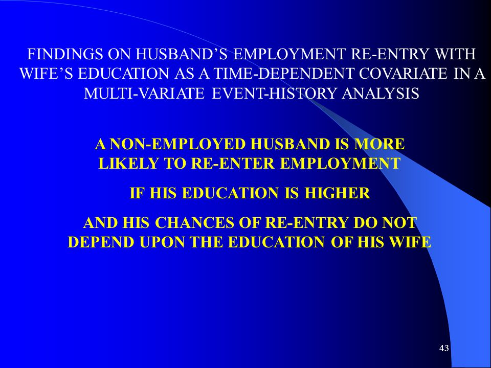43 FINDINGS ON HUSBAND'S EMPLOYMENT RE-ENTRY WITH WIFE'S EDUCATION AS A TIME-DEPENDENT COVARIATE IN A MULTI-VARIATE EVENT-HISTORY ANALYSIS A NON-EMPLOYED HUSBAND IS MORE LIKELY TO RE-ENTER EMPLOYMENT IF HIS EDUCATION IS HIGHER AND HIS CHANCES OF RE-ENTRY DO NOT DEPEND UPON THE EDUCATION OF HIS WIFE
