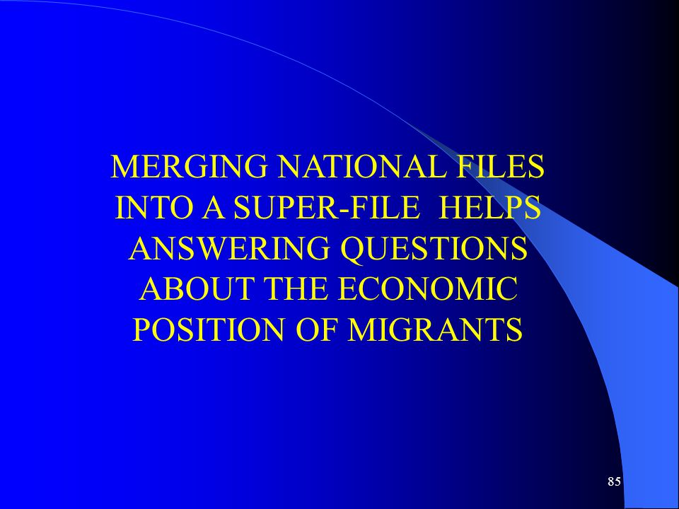 85 MERGING NATIONAL FILES INTO A SUPER-FILE HELPS ANSWERING QUESTIONS ABOUT THE ECONOMIC POSITION OF MIGRANTS