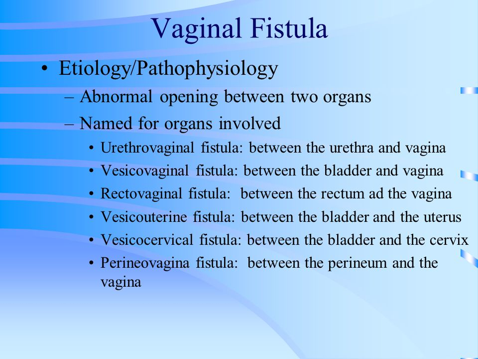 Vaginal Fistula Etiology/Pathophysiology –Abnormal opening between two organs –Named for organs involved Urethrovaginal fistula: between the urethra a