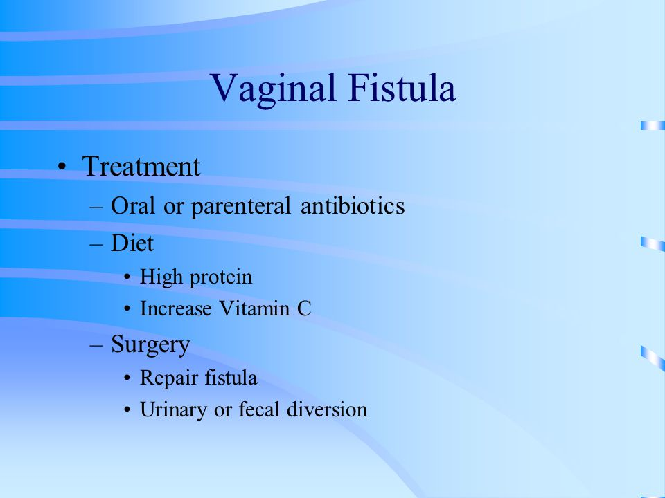 Vaginal Fistula Treatment –Oral or parenteral antibiotics –Diet High protein Increase Vitamin C –Surgery Repair fistula Urinary or fecal diversion