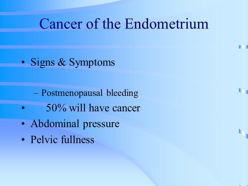 Cancer of the Endometrium Signs & Symptoms –Postmenopausal bleeding 50% will have cancer Abdominal pressure Pelvic fullness