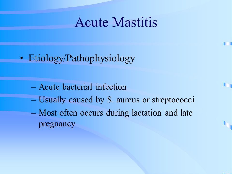 Acute Mastitis Etiology/Pathophysiology –Acute bacterial infection –Usually caused by S.
