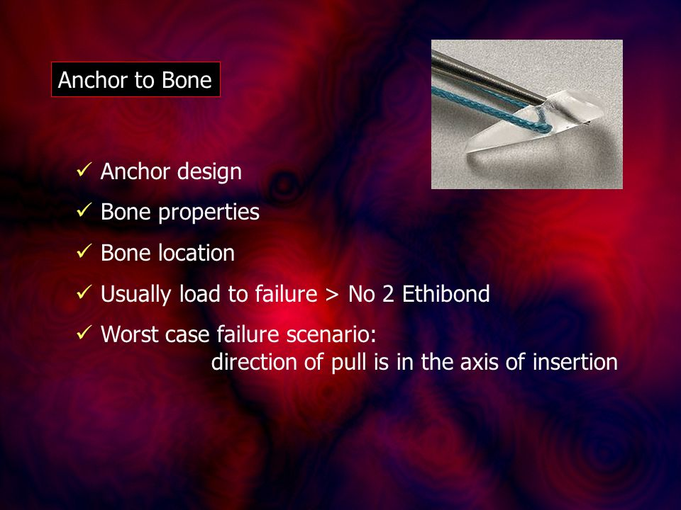 Anchor to Bone Anchor design Bone properties Bone location Usually load to failure > No 2 Ethibond Worst case failure scenario: direction of pull is in the axis of insertion