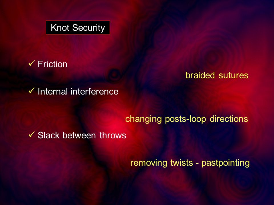 Knot Security Friction braided sutures Internal interference changing posts-loop directions Slack between throws removing twists - pastpointing