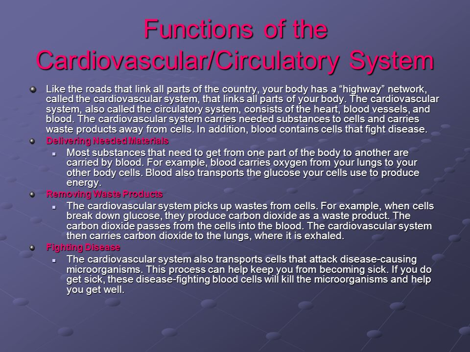 Functions of the Cardiovascular/Circulatory System Like the roads that link all parts of the country, your body has a highway network, called the cardiovascular system, that links all parts of your body.