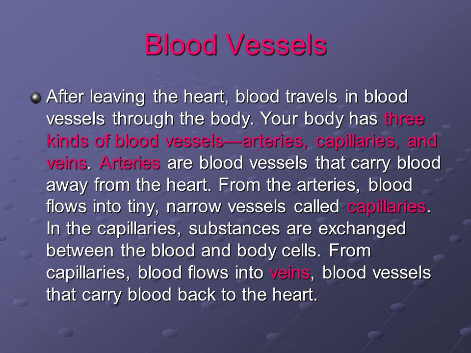 Blood Vessels After leaving the heart, blood travels in blood vessels through the body.