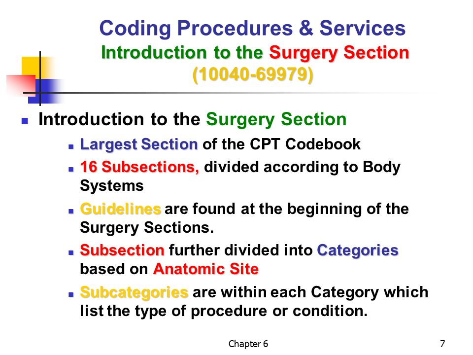 Chapter 668 Radiology Procedure Radiology Procedure When a radiology procedure is performed from the required combined services: Radiology Section A Code from the Radiology Section describes the Procedure Surgery Section A Code from the Surgery Section describe the Combination Procedure Performance Exercise Performance Exercise Example 6-19/Page 153 Example 6-19/Page 153 Radiology Section (70000-79999) Coding Procedures & Services Radiology Section (70000-79999)