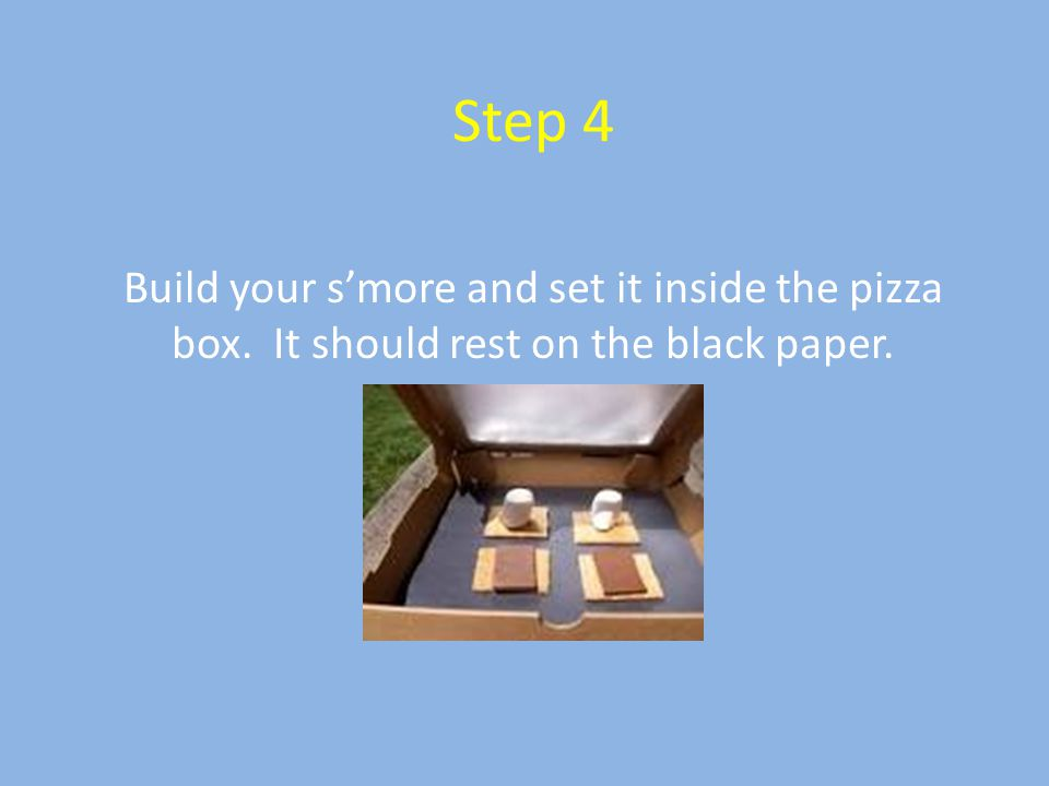 Step 4 Build your s'more and set it inside the pizza box. It should rest on the black paper.