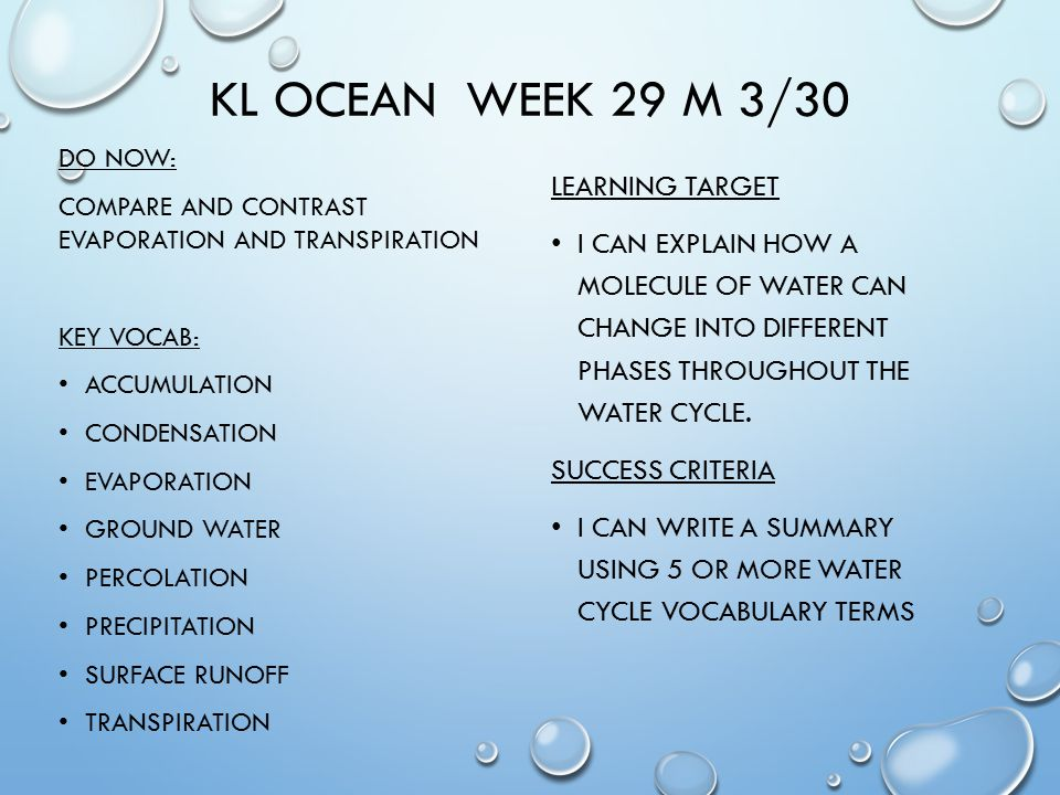 KL OCEAN WEEK 29 M 3/30 DO NOW: COMPARE AND CONTRAST EVAPORATION AND TRANSPIRATION KEY VOCAB: ACCUMULATION CONDENSATION EVAPORATION GROUND WATER PERCOLATION PRECIPITATION SURFACE RUNOFF TRANSPIRATION LEARNING TARGET I CAN EXPLAIN HOW A MOLECULE OF WATER CAN CHANGE INTO DIFFERENT PHASES THROUGHOUT THE WATER CYCLE.