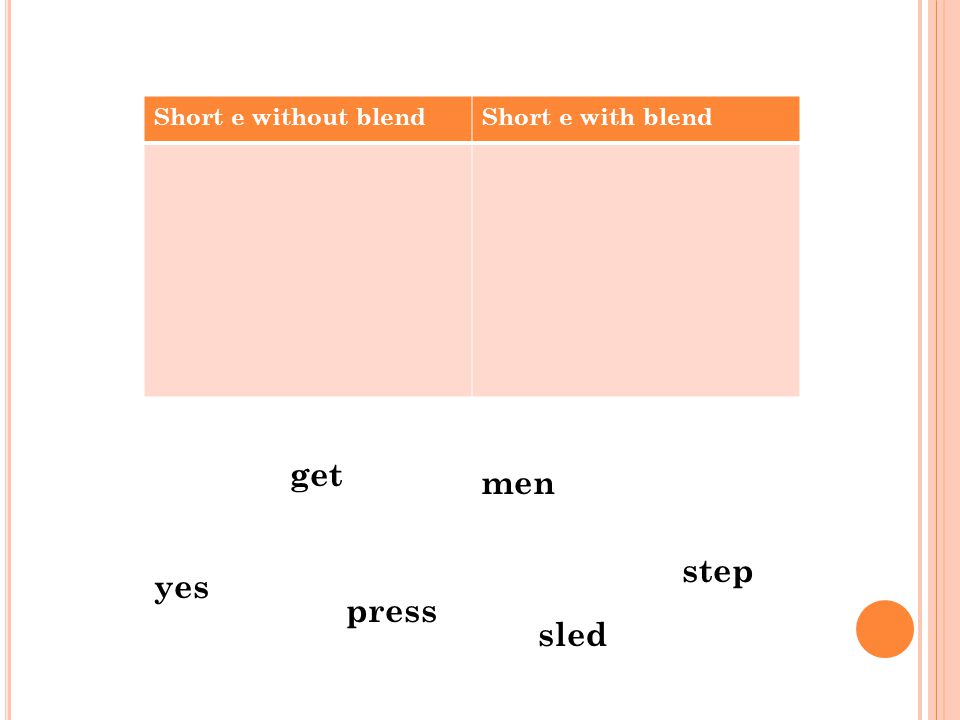 Short e without blendShort e with blend yes press men step get sled
