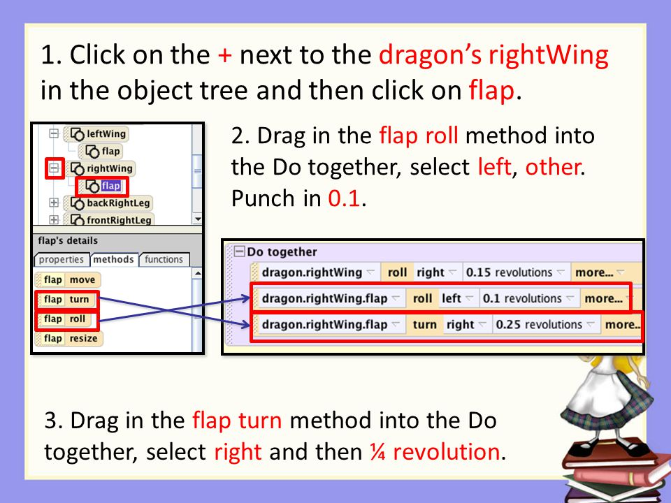 2. Drag in the flap roll method into the Do together, select left, other.