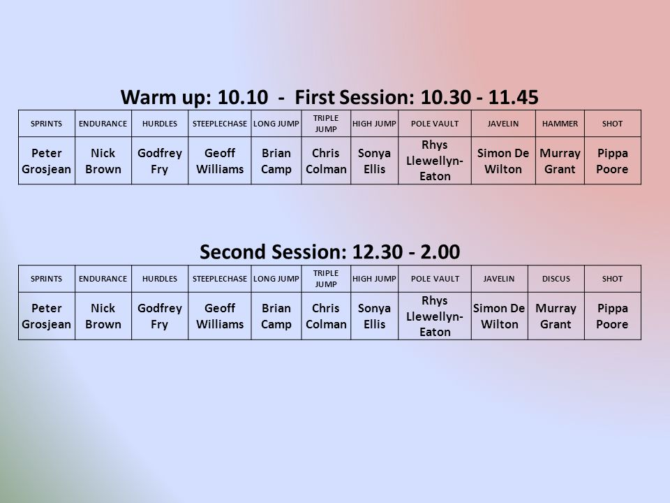 Warm up: 10.10 - First Session: 10.30 - 11.45 SPRINTSENDURANCEHURDLESSTEEPLECHASELONG JUMP TRIPLE JUMP HIGH JUMPPOLE VAULTJAVELINHAMMERSHOT Peter Gros
