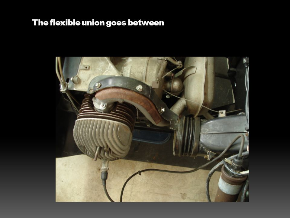 The flexible union goes between