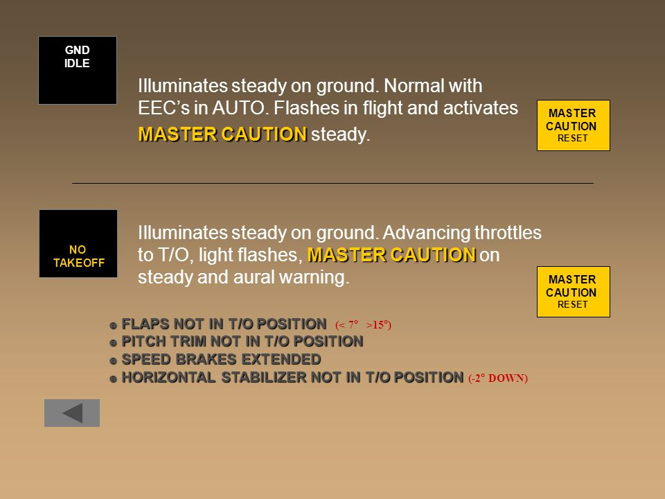 Illuminates steady on ground. Normal with EEC's in AUTO. Flashes in flight and activates MASTER CAUTION MASTER CAUTION steady. Illuminates steady on g
