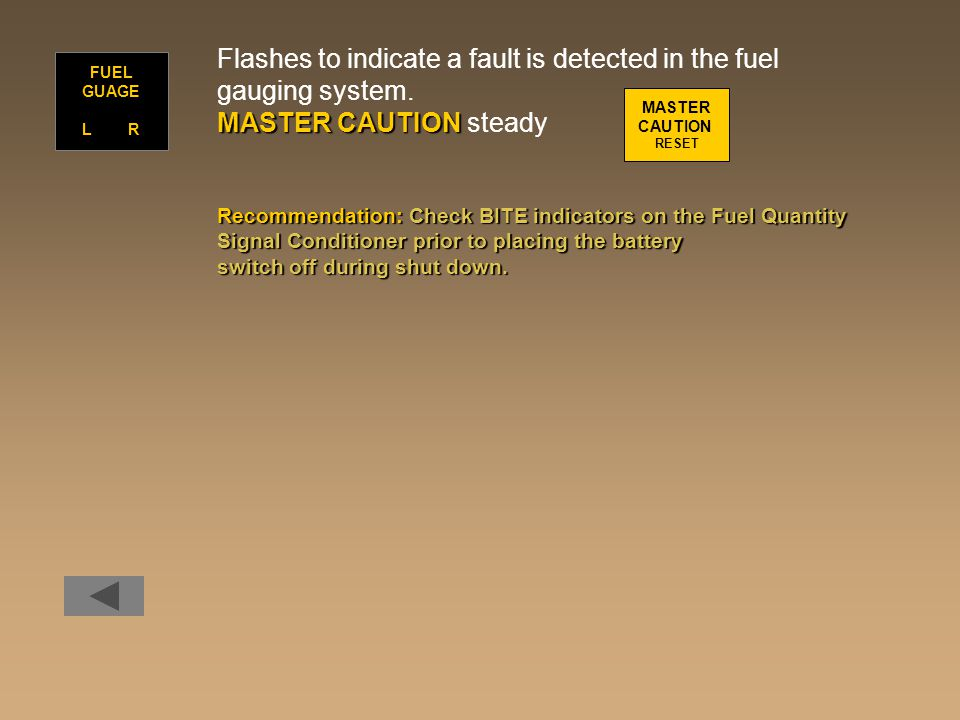 Flashes to indicate a fault is detected in the fuel gauging system. MASTER CAUTION MASTER CAUTION steady Recommendation:Check BITE indicators on the F