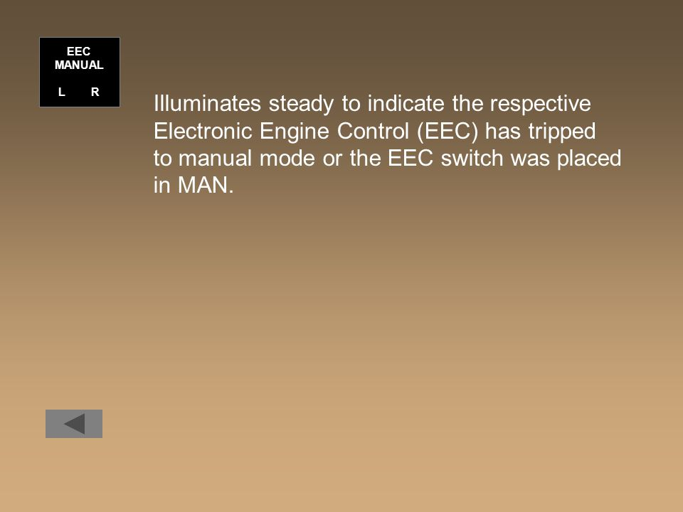 Illuminates steady to indicate the respective Electronic Engine Control (EEC) has tripped to manual mode or the EEC switch was placed in MAN.