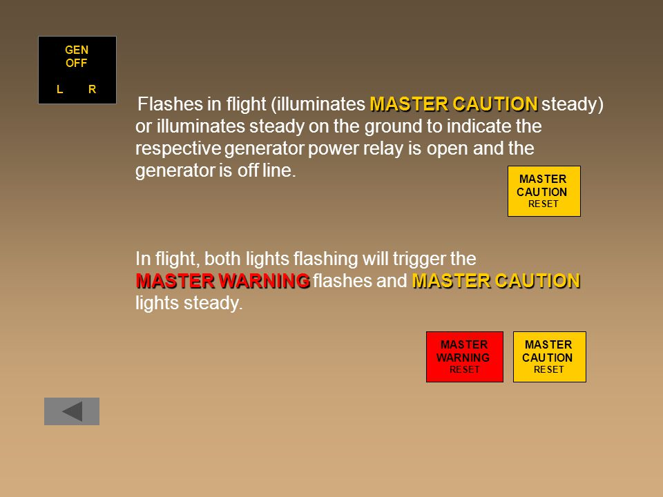 MASTER CAUTION Flashes in flight (illuminates MASTER CAUTION steady) or illuminates steady on the ground to indicate the respective generator power relay is open and the generator is off line.