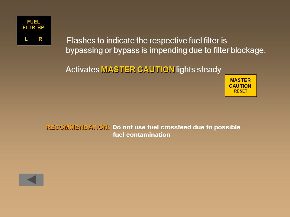 Flashes to indicate the respective fuel filter is bypassing or bypass is impending due to filter blockage. MASTER CAUTION Activates MASTER CAUTION lig