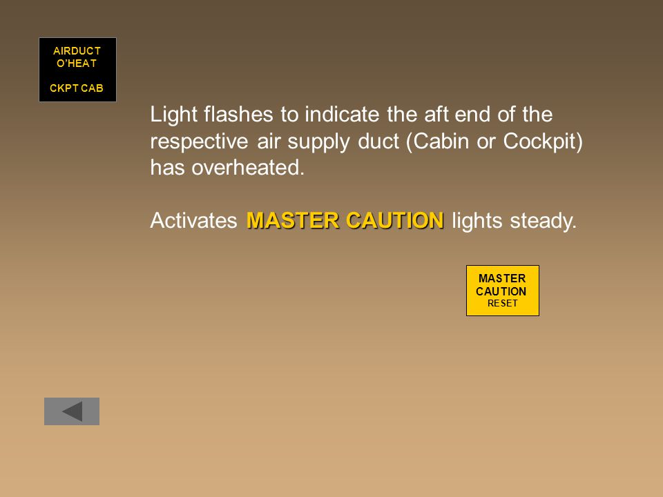 Light flashes to indicate the aft end of the respective air supply duct (Cabin or Cockpit) has overheated. MASTER CAUTION Activates MASTER CAUTION lig