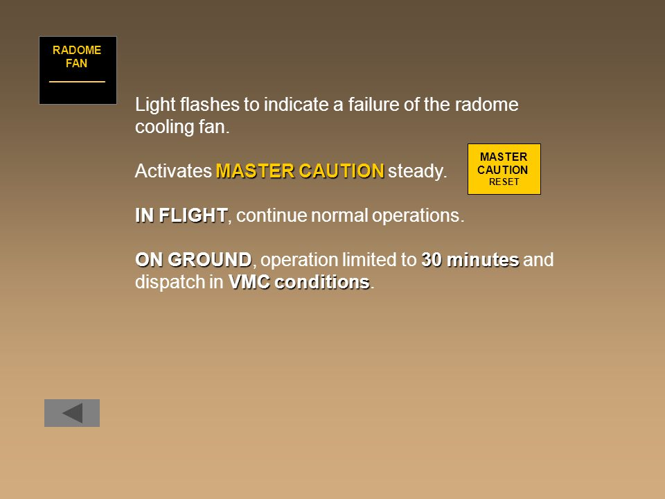 Light flashes to indicate a failure of the radome cooling fan. MASTER CAUTION Activates MASTER CAUTION steady. IN FLIGHT IN FLIGHT, continue normal op