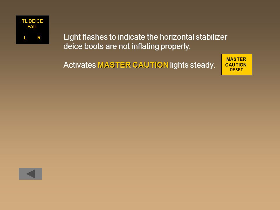 Light flashes to indicate the horizontal stabilizer deice boots are not inflating properly. MASTER CAUTION Activates MASTER CAUTION lights steady. TL