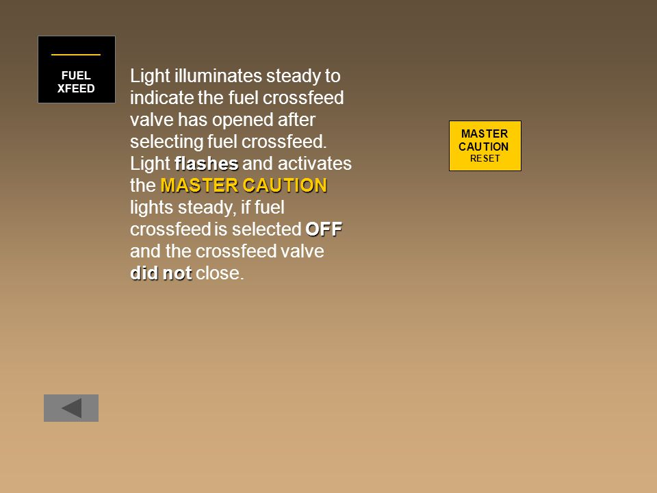 Light illuminates steady to indicate the fuel crossfeed valve has opened after selecting fuel crossfeed. flashes Light flashes and activates MASTER CA