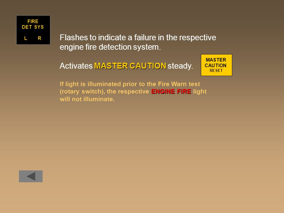 Flashes to indicate a failure in the respective engine fire detection system.