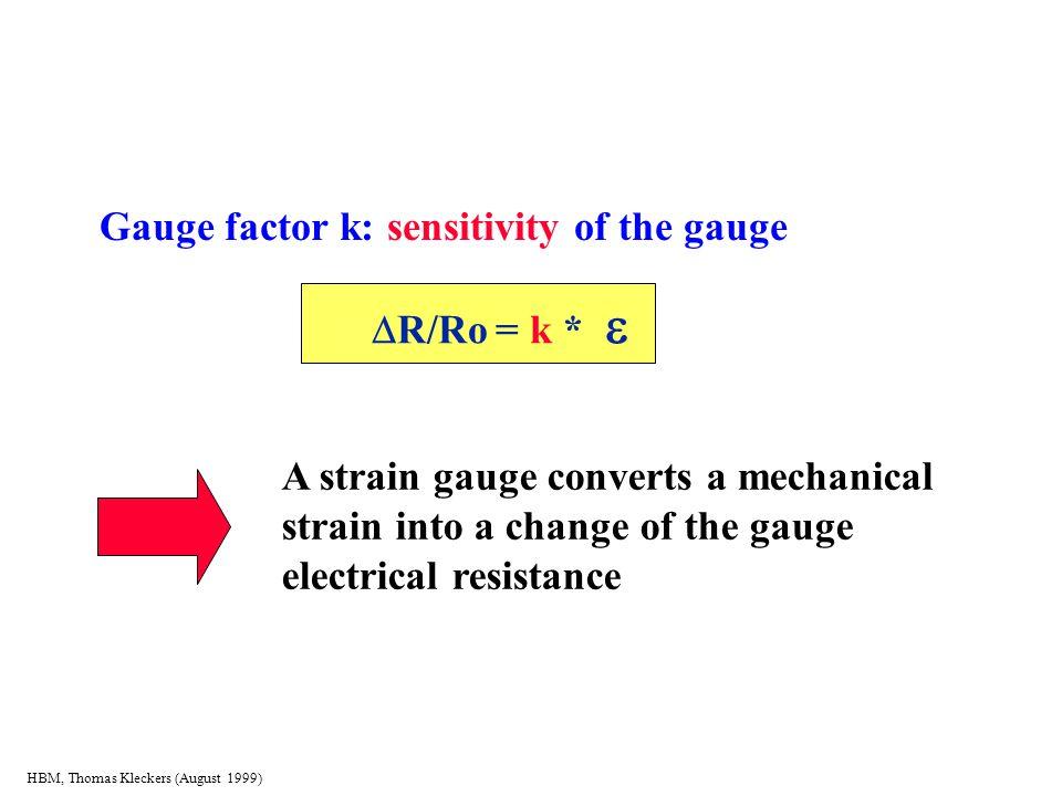 HBM, Thomas Kleckers (August 1999) Gauge factor k: sensitivity of the gauge  R/Ro = k   R/Ro = k *  A strain gauge converts a mechanical s