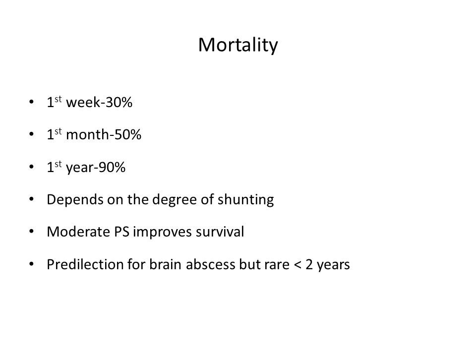Mortality 1 st week-30% 1 st month-50% 1 st year-90% Depends on the degree of shunting Moderate PS improves survival Predilection for brain abscess bu