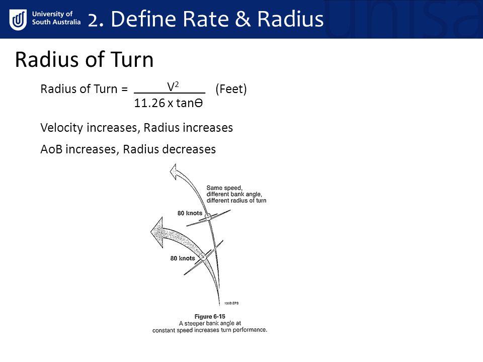 Radius of Turn Radius of Turn = (Feet) Velocity increases, Radius increases AoB increases, Radius decreases 2. Define Rate & Radius V 2 ____ 11.26 x t