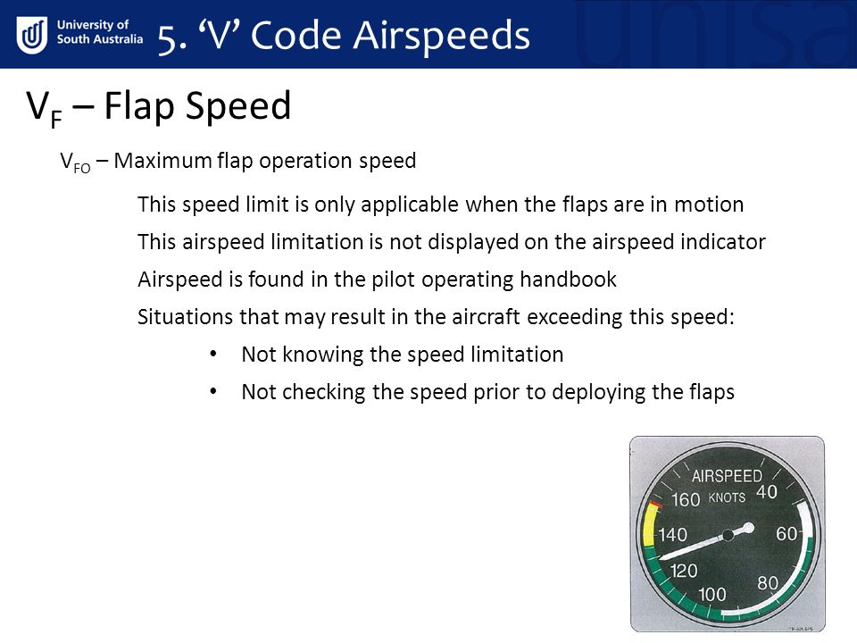 5. 'V' Code Airspeeds V F – Flap Speed V FO – Maximum flap operation speed This speed limit is only applicable when the flaps are in motion This airsp