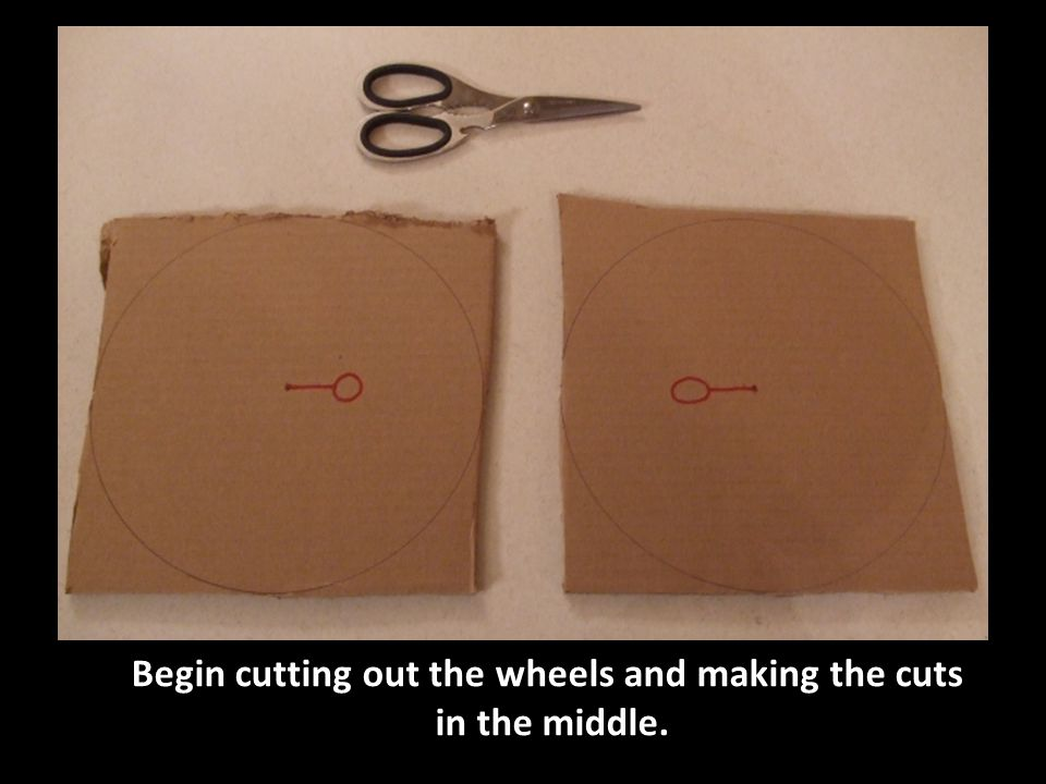 Begin cutting out the wheels and making the cuts in the middle.