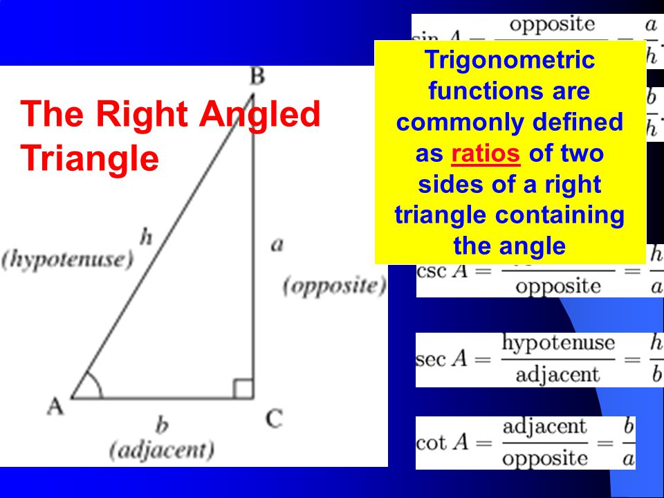 The Right Angled Triangle Trigonometric functions are commonly defined as ratios of two sides of a right triangle containing the angleratios