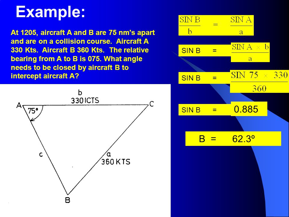 SIN B = At 1205, aircraft A and B are 75 nm's apart and are on a collision course. Aircraft A 330 Kts. Aircraft B 360 Kts. The relative bearing from A
