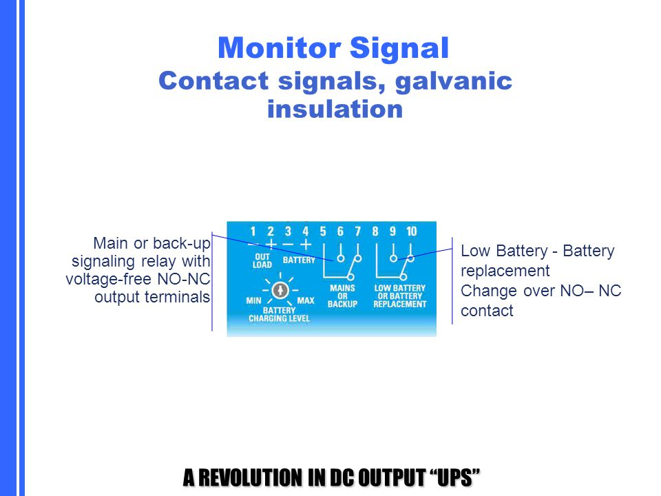 """A REVOLUTION IN DC OUTPUT """"UPS"""" Monitor Signal Main or back-up signaling relay with voltage-free NO-NC output terminals Low Battery - Battery replacem"""