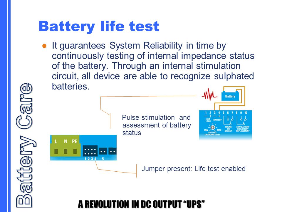 """A REVOLUTION IN DC OUTPUT """"UPS"""" Battery life test It guarantees System Reliability in time by continuously testing of internal impedance status of the"""
